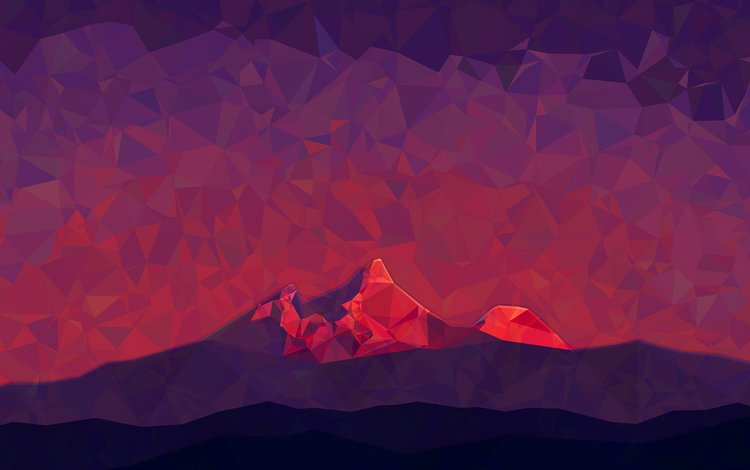 горы, абстракция, грани, mountains, abstraction, faces