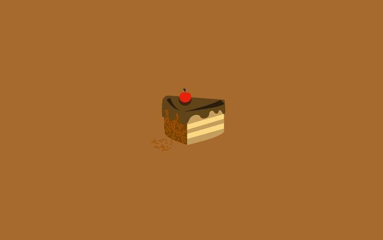 рисунок, торт, кусочек, вишенка, figure, cake, piece, cherry
