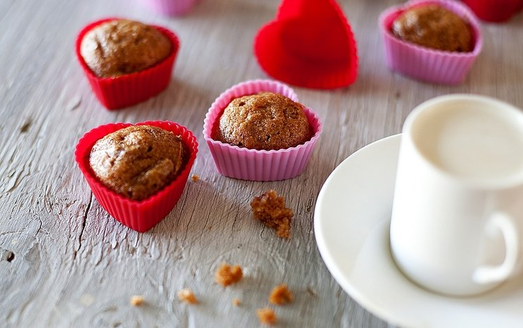 молоко, сердечки, сладкое, кексы, milk, hearts, sweet, cupcakes