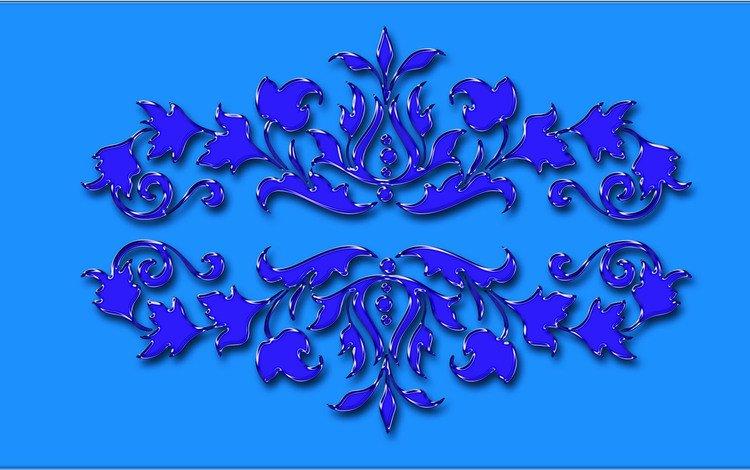 цветы, фон, синий, узор, flowers, background, blue, pattern