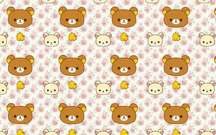 обои, текстура, мишки, аниме, птички, wallpaper, texture, bears, anime, birds