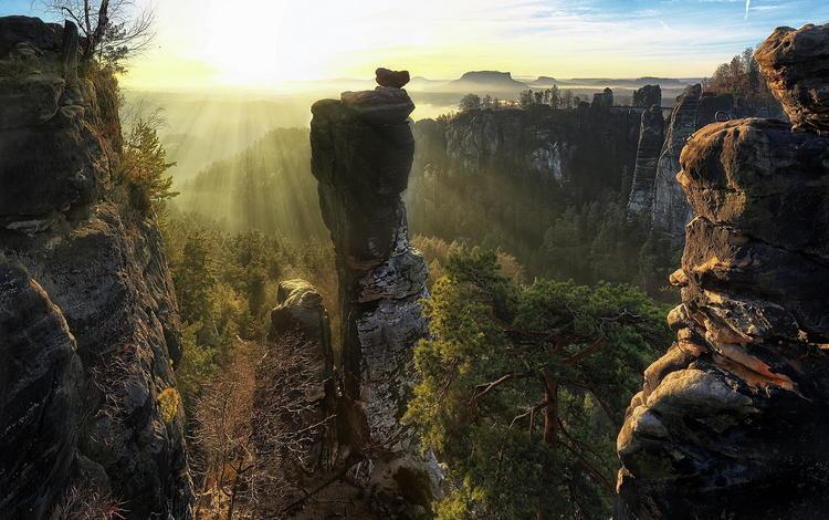 горы, скалы, солнце, саксонская швейцария, mountains, rocks, the sun, saxon switzerland