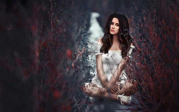 трава, платье, грусть, взгляд, юля пушман, grass, dress, sadness, look, julia pushman