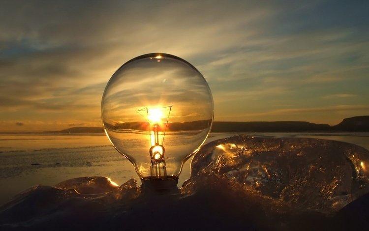 закат, лампочка, sunset, light bulb