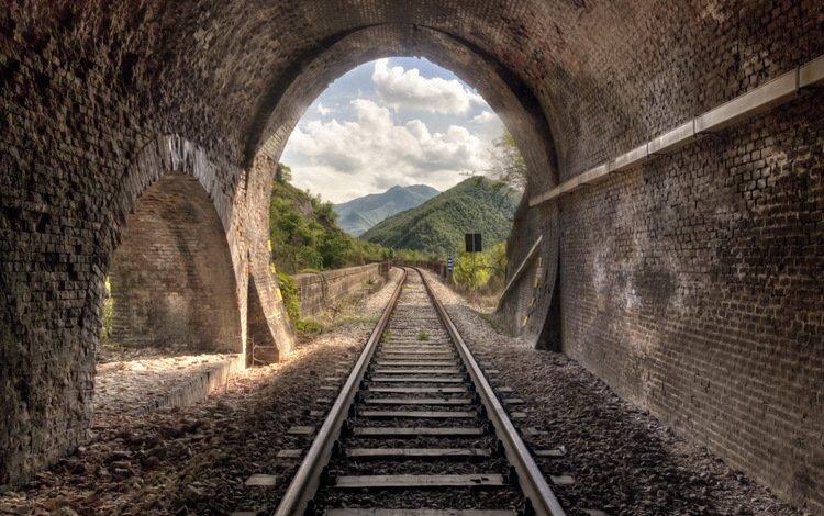 железная дорога, рельсы, природа, тоннель, railroad, rails, nature, the tunnel