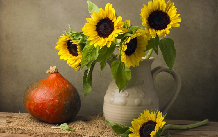 подсолнух, ваза, тыква, натюрморт, sunflower, vase, pumpkin, still life