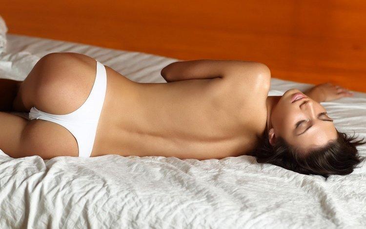 обои, девушка, спина, постель, стринги, wallpaper, girl, back, bed, thong