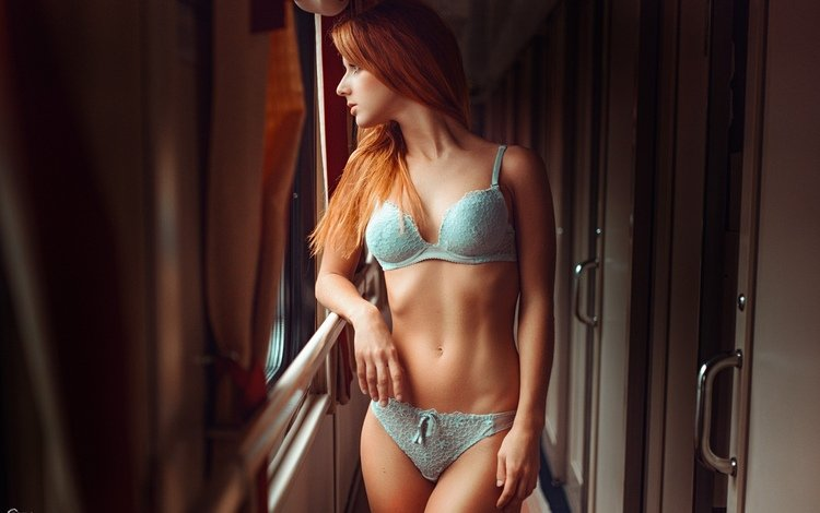 девушка, поезд, окно, girl, train, window