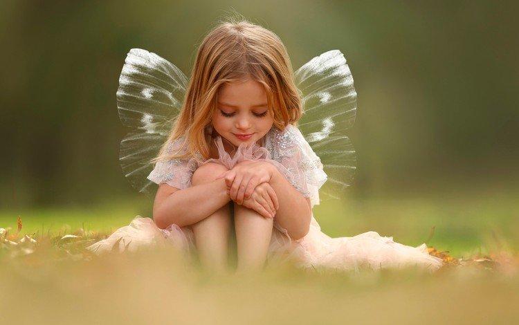 дети, девочка, фея, крылышки, children, girl, fairy, wings