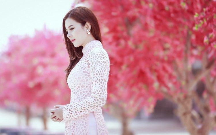 девушка, поза, взгляд, модель, профиль, весна, лицо, азиатка, girl, pose, look, model, profile, spring, face, asian