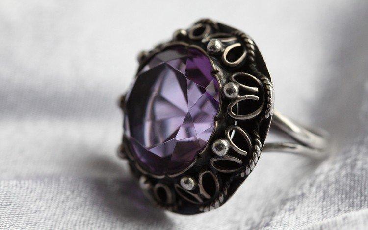 камень, кольцо, серебро, украшение, аметист, драгоценный камень, stone, ring, silver, decoration, amethyst, gemstone