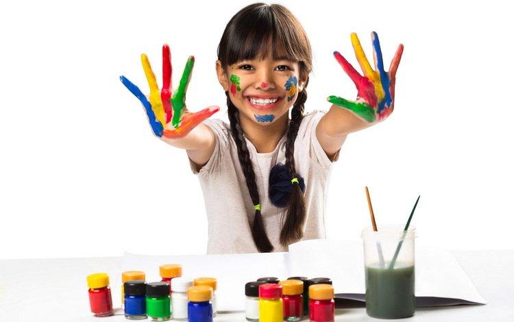 mood, paint, color, children, girl
