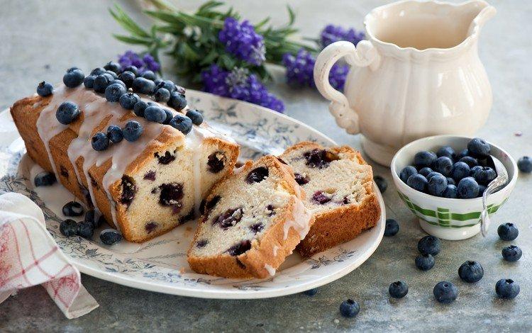 черника, выпечка, глазурь, кекс, blueberries, cakes, glaze, cupcake