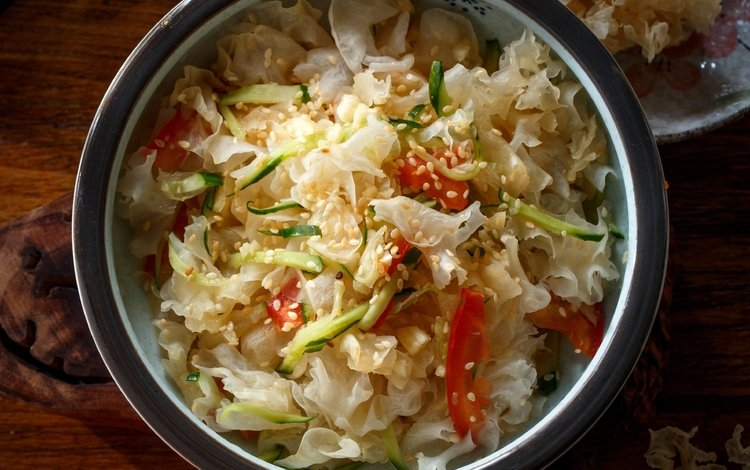 vegetables, tomatoes, cabbage, salad, dish, cucumber, sesame