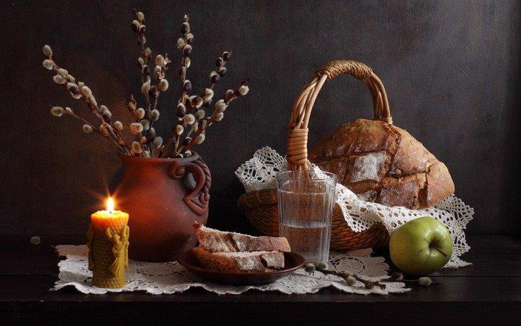 ветви, салфетка, воды, ива, весна, натюрморт, хлеб, сережки, корзина, вербное воскресенье, яблоко, керамический кувшин, свеча, natalie panga, стакан, branch, napkin, water, iva, spring, still life, bread, earrings, basket, palm sunday, apple, ceramic jug, candle, glass
