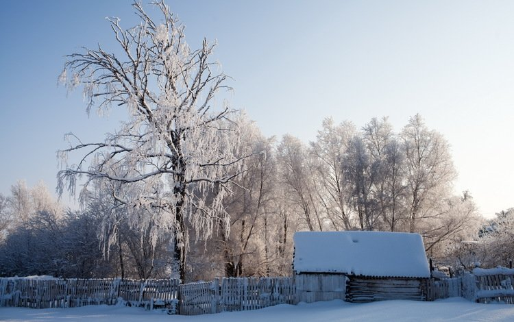 снег, зима, пейзаж, забор, дом, snow, winter, landscape, the fence, house