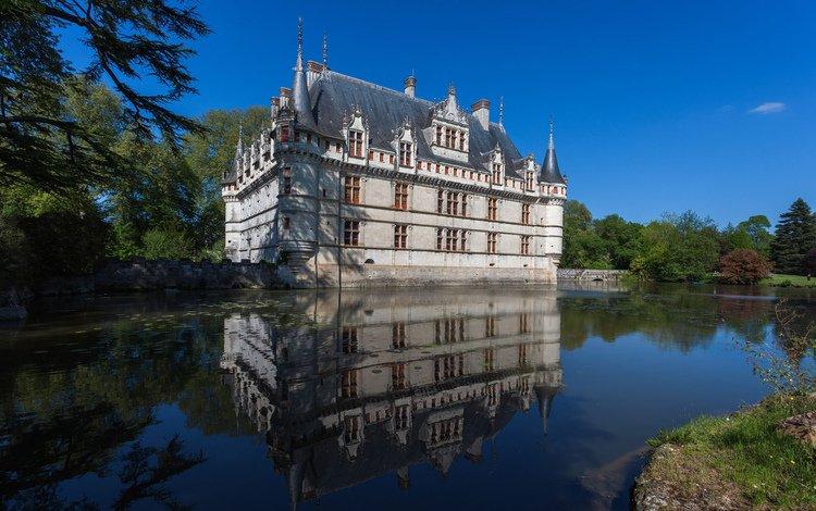 небо, деревья, замок, пруд, дворец, франция, франци, азе-ле-ридо, chateau, the sky, trees, castle, pond, palace, france, azay-le-rideau