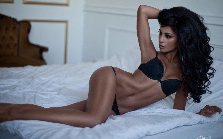 girl, brunette, lies, model, figure, tan, body, bed, linen, legs., nargis amelina