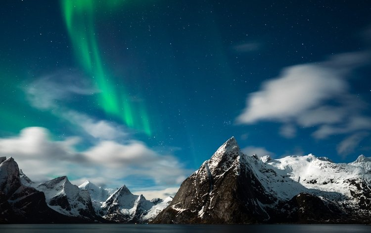 горы, звезды, северное сияние, норвегия, mountains, stars, northern lights, norway
