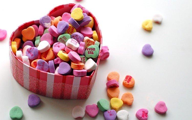 разноцветные, день святого валентина, конфеты, сладости, сердце, любовь, подарок, сердечки, коробка, colorful, valentine's day, candy, sweets, heart, love, gift, hearts, box