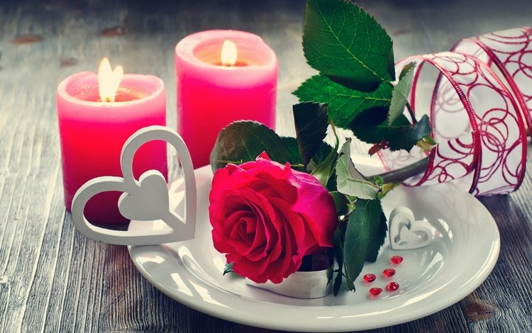 цветы, свечи, розы, лепестки, любовь, день святого валентина, flowers, candles, roses, petals, love, valentine's day