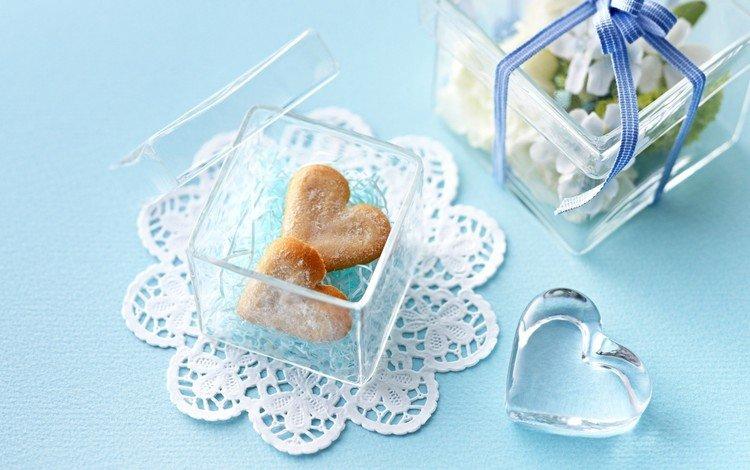 сердце, подарок, сердечки, сладкое, печенье, выпечка, прозрачная, коробочка, heart, gift, hearts, sweet, cookies, cakes, transparent, box