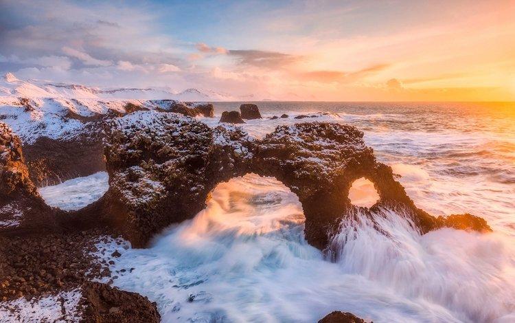 light, rocks, wave, sea, morning, the ocean, arch, iceland