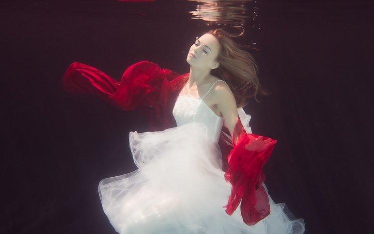вода, девушка, платье, ситуация, красный, белое, шарф, water, girl, dress, the situation, red, white, scarf