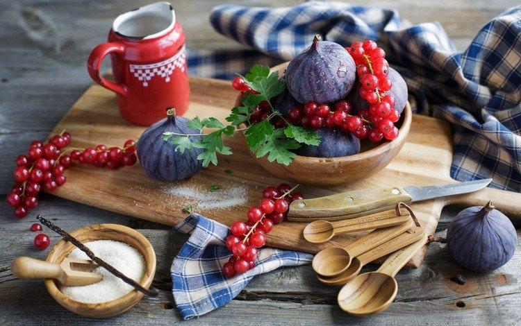 красная, фрукты, ягоды, сахар, натюрморт, смородина, инжир, red, fruit, berries, sugar, still life, currants, figs