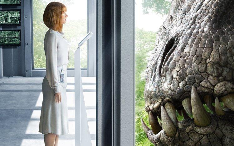 девушка, фильм, динозавр, окно, пленка, мир юрского периода, girl, the film, dinosaur, window, film, jurassic world