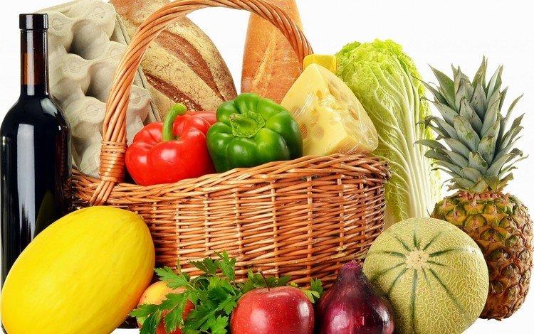 fruit, apples, bow, bread, basket, wine, vegetables, eggs, pineapple, pepper, cabbage, melon, parsley