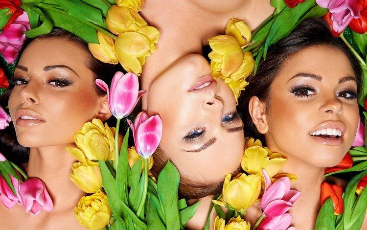 цветы, брюнет, женщин, блондинка, грим, брюнетка, девушки, лица, макияж, грани, цветы, блонд, flowers, women, blonde, brunette, girls, face, makeup, faces
