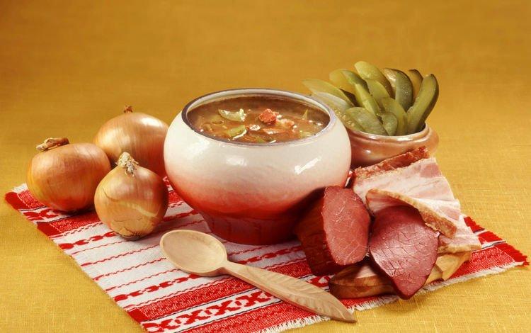 лук, мясо, огурцы, суп, горшочек, русская кухня, рассольник, bow, meat, cucumbers, soup, pot, russian cuisine, pickle