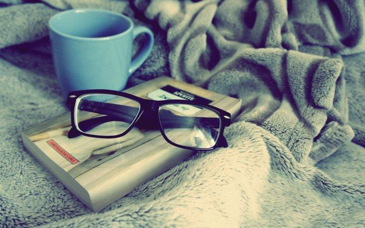 очки, чашка, книга, голубая, уют, glasses, cup, book, blue, comfort