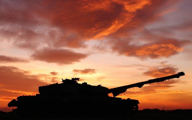 sunset, background, tank
