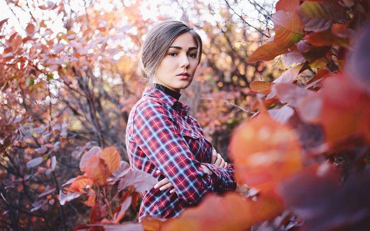 листья, девушка, настроение, осень, модель, волосы, лицо, рубашка, leaves, girl, mood, autumn, model, hair, face, shirt
