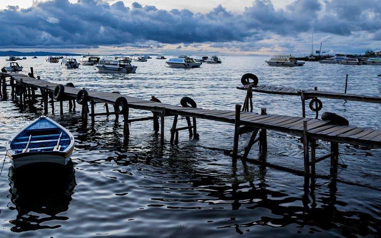 озеро, лодки, пирс, причал, лодка, боливия, копакабана, озеро титикака, lake, boats, pierce, pier, boat, bolivia, copacabana, lake titicaca
