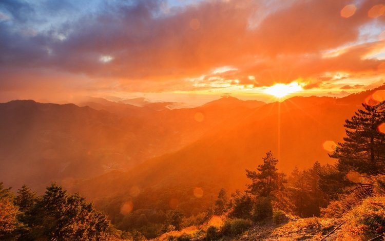 горы, солнце, mountains, the sun