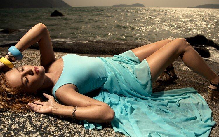 море, пляж, модель, в платье, sea, beach, model, dress