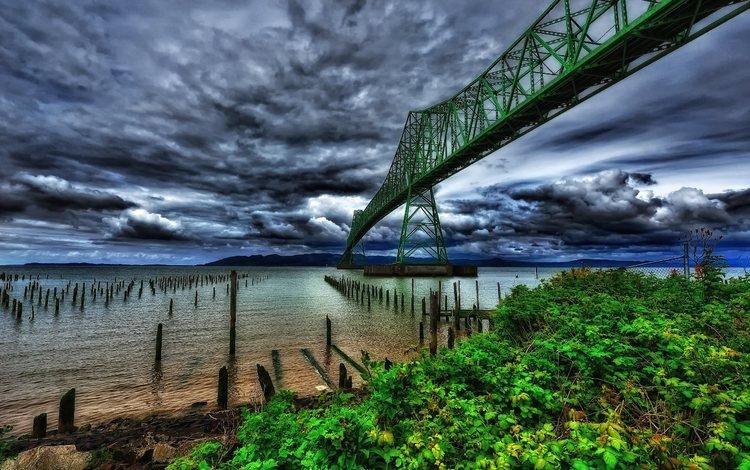 облака, вечер, река, мост, сша, орегон, река колумбия, мост астория, clouds, the evening, river, bridge, usa, oregon, the columbia river, bridge astoria