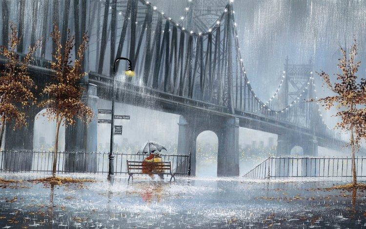 деревья, фонари, улица, дождь, скамья, двое, trees, lights, street, rain, bench, two
