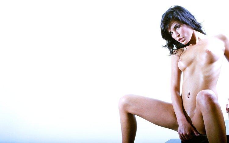 девушка, фон, белый, грудь, голая, nella, girl, background, white, chest, naked