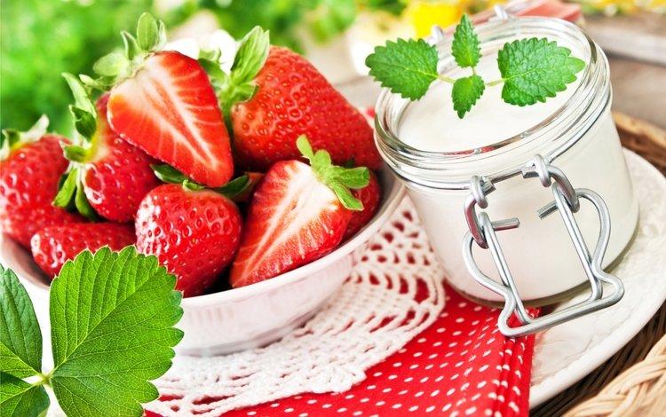 ягода, клубника, сладкое, десерт, йогурт, berry, strawberry, sweet, dessert, yogurt