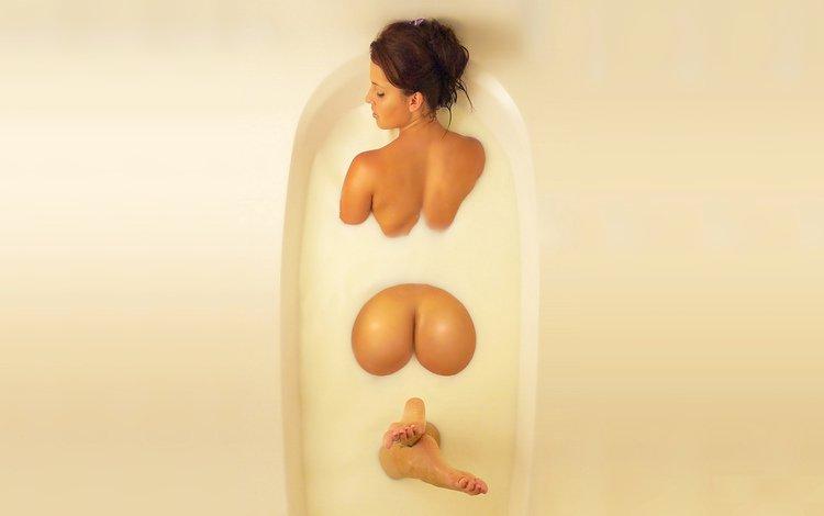 девушка, цвет, попа, молоко, ванна, girl, color, ass, milk, bath