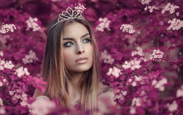 цветы, девушка, блондинка, портрет, взгляд, диадема, flowers, girl, blonde, portrait, look, diadema