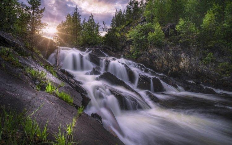 деревья, река, скалы, камни, водопад, норвегия, каскад, рингерике, trees, river, rocks, stones, waterfall, norway, cascade, ringerike