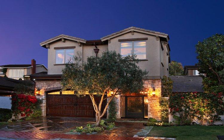 ночь, деревья, дизайн, город, дом, особняк, night, trees, design, the city, house, mansion