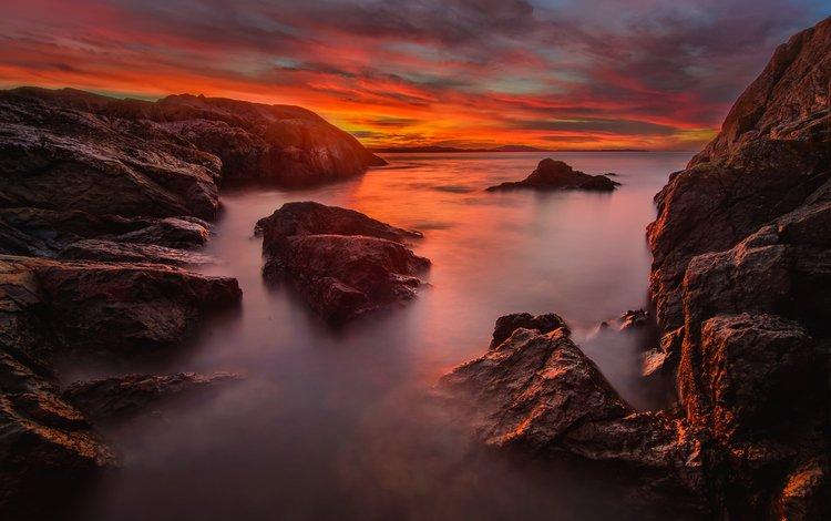небо, облака, скалы, камни, закат, море, the sky, clouds, rocks, stones, sunset, sea