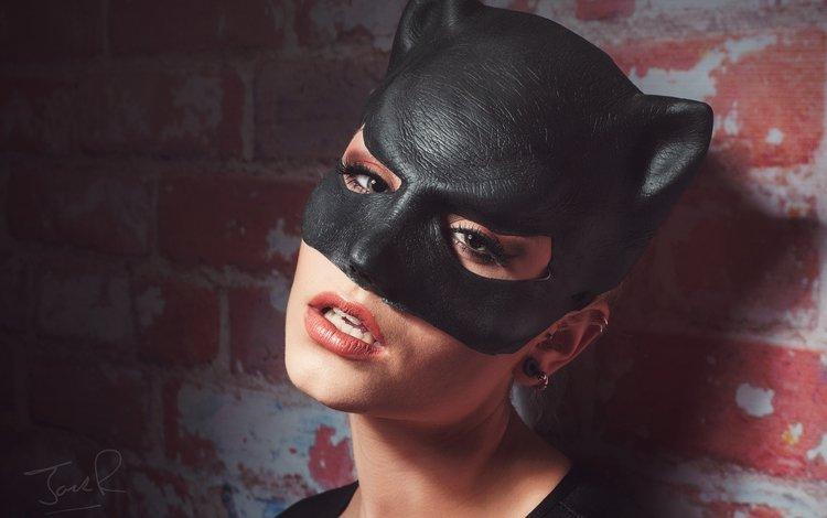 girl, mask, look, wall, face, makeup, catwoman