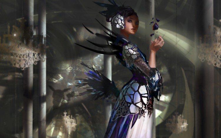арт, камни, девушка, платье, перья, колонны, art, stones, girl, dress, feathers, columns